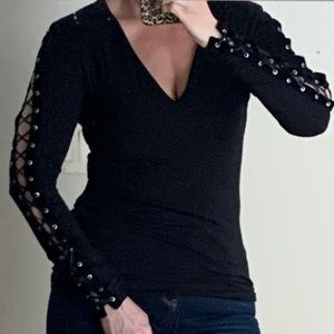 Express Laced Up Sleeve Top